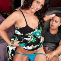 Over 50 brunette Azure Dee giving younger guy handjob before doggystyle fucking