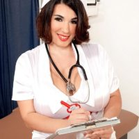 Brunette nurse Elaina Gregory flashing her big ass and hairy pussy in uniform