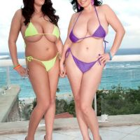 Chubby brunette Michelle Bond and girlfriend release huge natural tits from bikinis