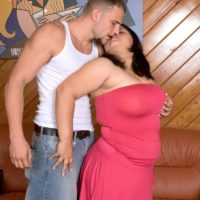 Fat brunette Karla Lane seducing man for a hard fucking on leather chesterfield