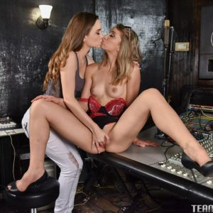 Teen girls Aurora and Belle eat lesbian pussy before hard strapon fucking