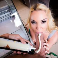 Blonde chick Victoria Summers taking it up the ass from the cook inside diner