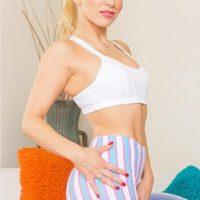 Hot blonde MILF pornstar Ashley Fires taking hardcore DP in sexy leggings