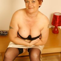 Mature redhead wife unleashes big natural boobs after flashing no panty upskirt