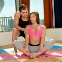 Pornstar Abella Danger gets oiled up by yoga instructor before hard ass fucking