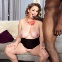 Fat female Harmony White seduces a black man with her big boobs and big butt