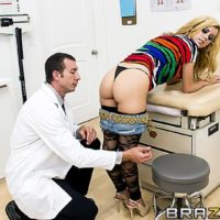 Hot blonde chick Jessie Rogers gets ass fucked by her doctor during an examination