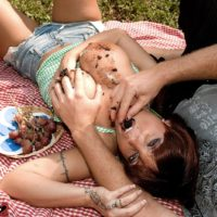 Hot MILF Sarah Sunshine has her big natural tits fondled outdoors