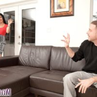 Latina female Daylene Rio frees her big booty from a ripped skirt