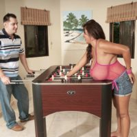 Latina MILF Vanessa Del works on seducing a man with her massive boobs