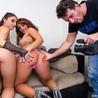 Pornstars Mischa Brooks and Savannah Fox do anal sex in a hard threesome fuck