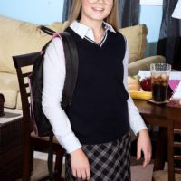 Blonde schoolgirl Lexy gets stripped by her tutor before having 69 sex