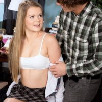 Blonde schoolgirl Lexy gets stripped by her tutor before having 69 sex