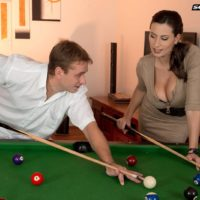 Hot MILF Sensual Jane tit fucks a man after shooting pool in black stockings