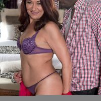 Hot older woman Renee Black takes off her lingerie for a black man