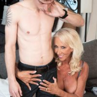 Hot over 60 MILF Madison Milstar seduces a younger man in her bra and panties