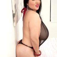 Latina solo model Daylene Rio free her hooters and bald twat from her lingerie