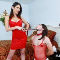 Long legged wife Dava Foxx has her crossdressing sissy worship her feet in a red dress