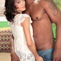 Petite granny Sahara Blue has her hairy pussy exposed and played with by a black man