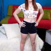 Redhead teen Jennifer Matthews strips naked on her bed to celebrate turning 18