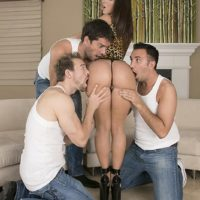 Top pornstar Jada Stevens offers up her juicy ass for anal sex to three men at once