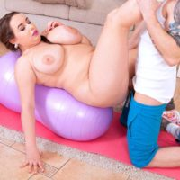 BBW Monica Love has her nipples licked before going face to face with a big cock