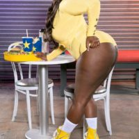 Black BBW Stacy Love flaunts her huge ass in booty shorts and roller skates