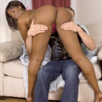 Black MILF Kara Kane seduces a white boy with her big booty in a bikini