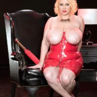 Blonde BBW Samantha 38G frees huge breasts from red latex dress in high heels
