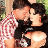Brunette MILF Arianna Sinn has a man lick her pussy and nipples after boot licking