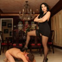 Dark haired wife Chloe Cain dominates her naked husband before posing in stockings