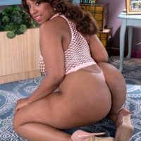 Ebony BBW Layla Monroe flaunts her huge ass in see thru dress and thong panties