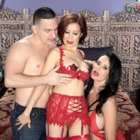 Hot old women Rita Daniels and Kim Anh have a threesome with younger boy