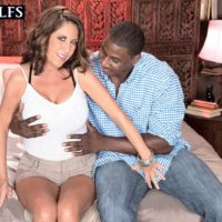 Mature woman Karen DeVille is stripped by a black man before taking his BBC in hand