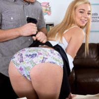 18 year old blonde girl Tiffany Watson has her phat ass examined after being stripped