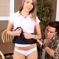 Barely legal 18 year old teen Liza Rowe exposes her flat chest in cotton underwear