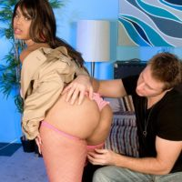 Big bottomed chick Joei Deluxxxe seduces a boy in a trench coat over bra and panties