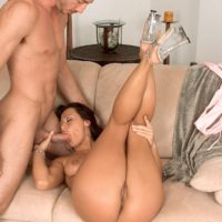 Brunette MILF Sandra Romain gags on a large cock prior to doggystyle fucking