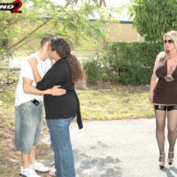 Dirty blonde MILF Summer Sinn seduces a married man with her huge breasts in stockings