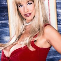 Famous mature pornstar Alexis Love lets her massive breasts loose in stockings