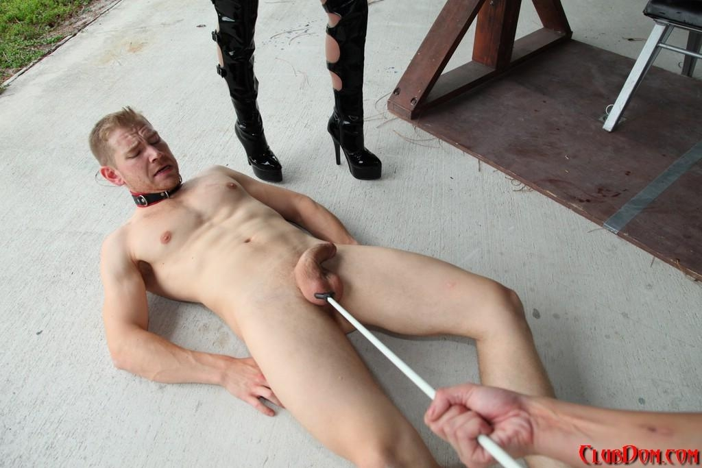 Cruel women Kimmy and Alexia deliver CBT treatment to a naked male in long boots