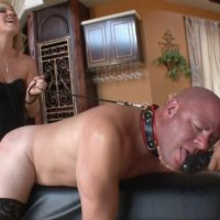 Hot blonde wife Ashley Edmunds makes her submissive husband suck her strapon cock