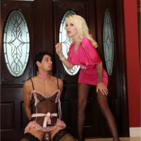 Hot blonde wife Victoria puts her sissy hubby Stevie into lingerie and hosiery