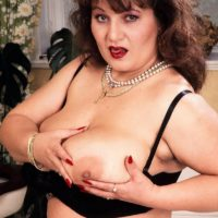 Mature Bbw Ildiko Plays With Her Huge Tits In Sexy Stockings