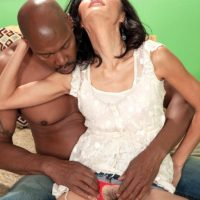 Petite grandmother Sahara Blue has her natural pussy fingered by her black lover