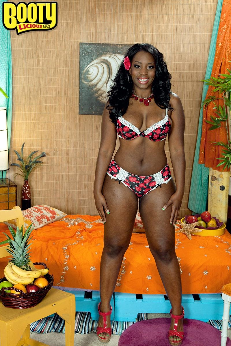 Ebony solo girl Mia Milan bare her boobs while flaunting her big booty in her bedroom