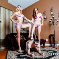 Leggy chicks Sophia and Lucille make a submissive man sniff their bikini clad asses