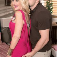 Mature blonde lady Kendall Rex flashes her panties while seducing her son-in-law