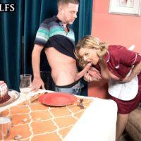 Mature blonde woman Lena Lewis seduces a younger boy after baking him a cake