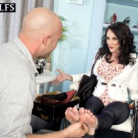 Sexy mature lady Lexi Ambrose has her bare feet and tits played with by a salesman